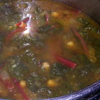 Curried Red Lentils, Swiss Chard and Chickpea Soup