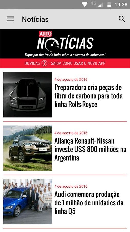 Revista Autoesporte: captura de tela