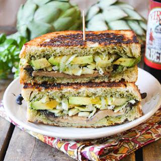 Lean Green Portobello, Pesto & Artichoke Panini.