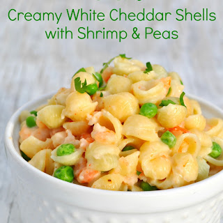 1-Dish Creamy White Cheddar Shells with Shrimp and Peas