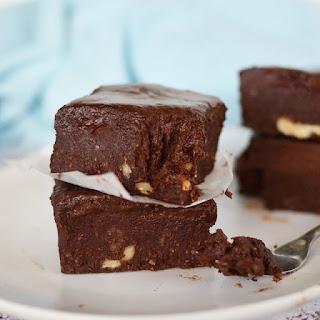 Raw Fudge Brownies with Chocolate Ganache.