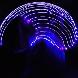 split by Savannah Eubanks - Abstract Light Painting ( woman, blue, light, double image, purple, light painting )