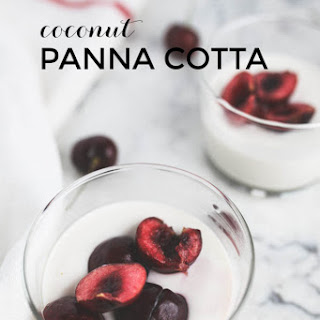 Coconut Panna Cotta With Cherries.