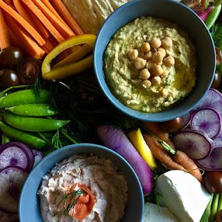 Garlic-Everything Hummus and Dilly Salmon Dip.