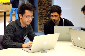 Photo: Photo credit: Liana Sonenclar  Ge Yang working on his pitch for Escherpad