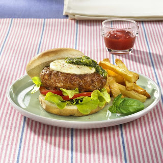 Italian Burgers with Homemade French Fries.