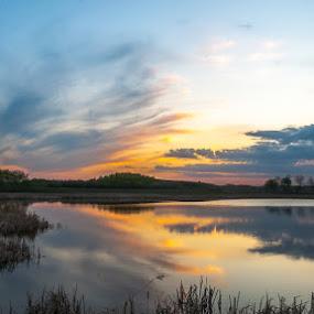Prairie Sunset by Garnie Ross - Landscapes Waterscapes ( water, color, sunset, prairie )