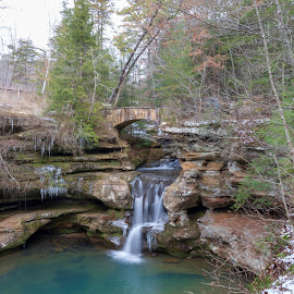 Winter Waterfalls  by Jon Campbell - Landscapes Waterscapes ( waterfalls nature ohio cave,  )