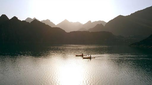Kayak on a still mountain lake near Dubai.