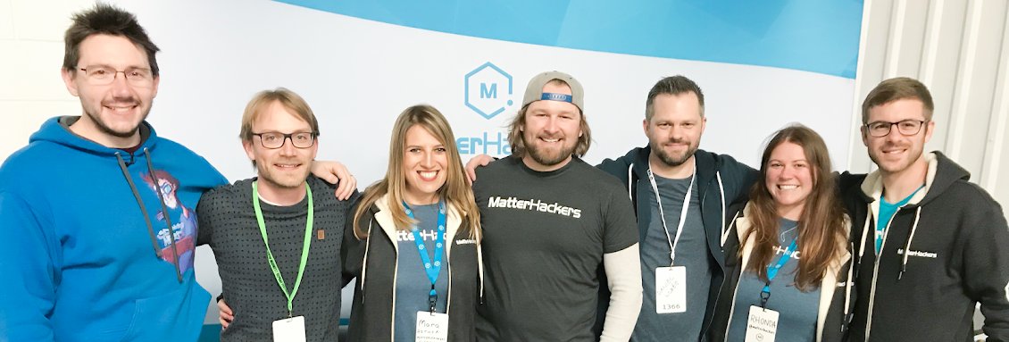 Several MatterHackers employees wearing their MatterHackers t-shirts