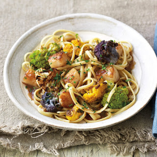 Colorful Cauliflower And Scallop Pasta.