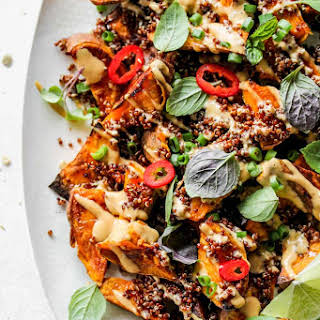 Roasted Sweet Potato Wedges with Asian Peanut Sauce.