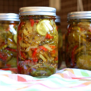 Classic Bread and Butter Pickles With Red Bell Pepper.
