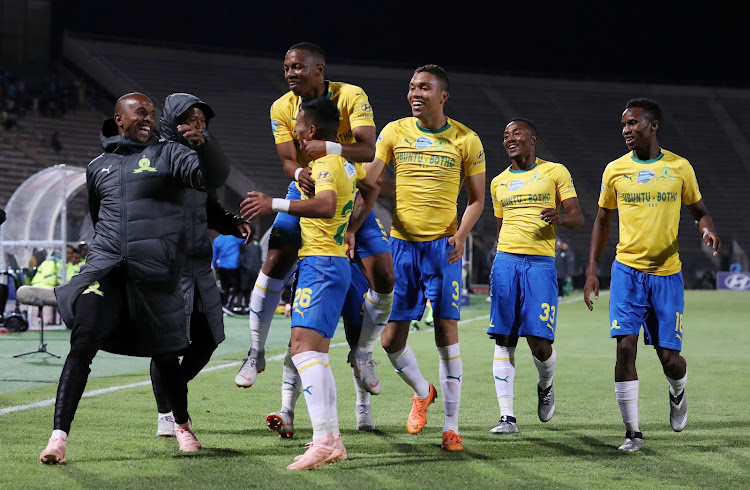 Leandro Sirino of Mamelodi Sundowns (26) celebrates goal with teammates during the 2018 Telkom Knockout Cup match between Mamelodi Sundowns and Bloemfontein Celtic at the Lucas Moripe Stadium, Atteridgeville on 20 October 2018.