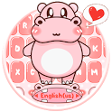 Pink Cute Hippo Keyboard Theme icon