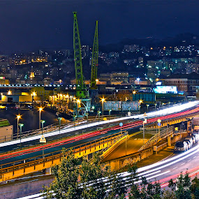 Genova by night by Felice Bellini - City,  Street & Park  Night ( #photowalkforacause, indoor, night lighting street, city by night, stitching, landscape, panorama, lights, challenge, outdoor, competiton, genova, night, panoramic, villes, rencontres, continents, découvertes curiosités, personnes, marchés, , city, mood factory, color, lighting, moods, colorful, light, bulbs, mood-lites, city at night, street at night, park at night, nightlife, night life, nighttime in the city )