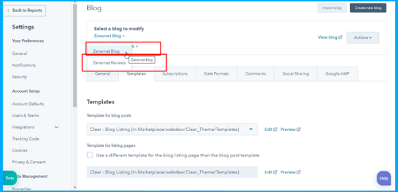 Change the blog template