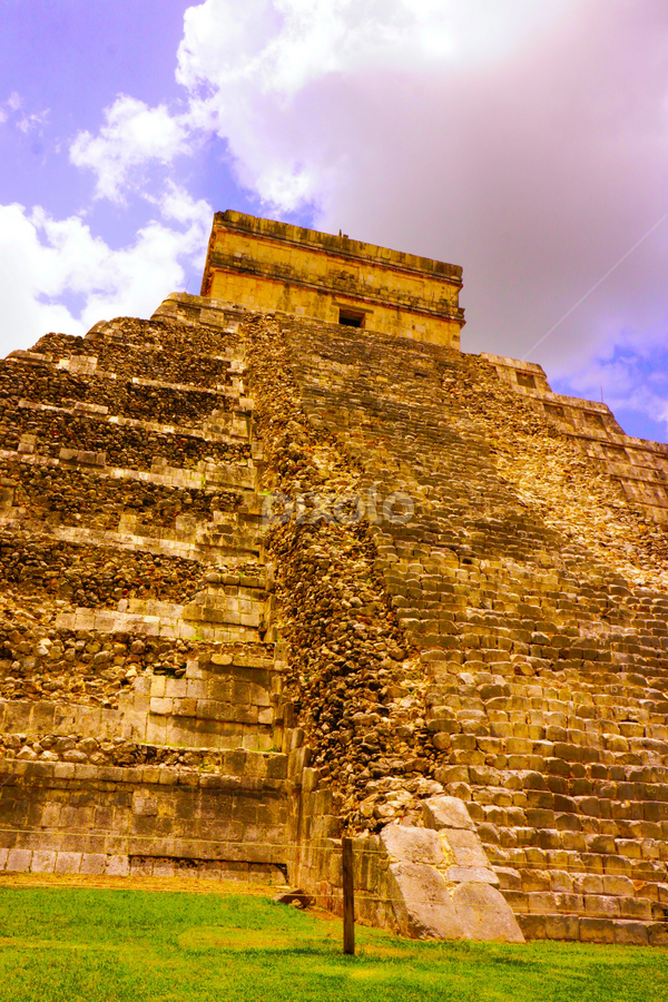 chichen Itza 3 by NPetrides Photography - Buildings & Architecture Statues & Monuments ( clouds, pyramid, mexico, monument, rocks )