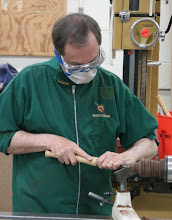 Photo: He starts hollowing with a Bob Rosand bent hollower.