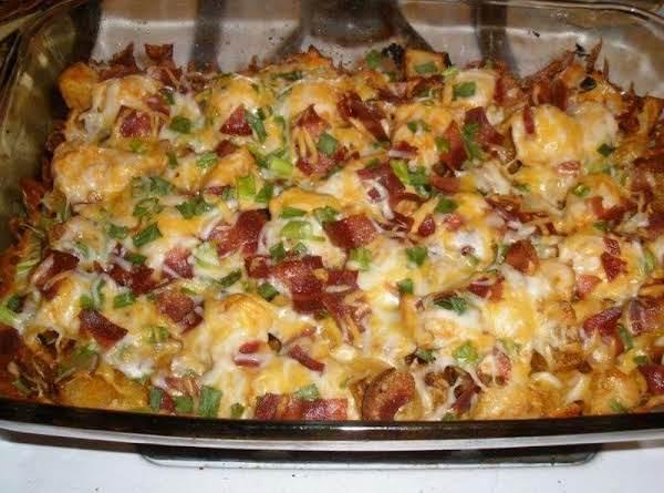 Loaded Potato And Buffalo Chicken Casserole: Recipe