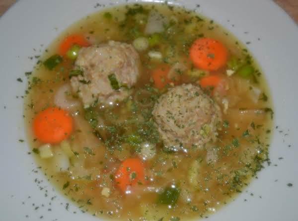 Asian Inspired Pork-upine Meatball Soup