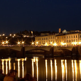 Florence Arno Riverbank by Sraddheshnu Basu - City,  Street & Park  Historic Districts ( firenze, historic district, night, italy, city )