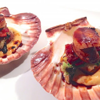 Seared and Stuffed Sea Scallops with Sriracha-Orange Coulis Hoisin Glaze