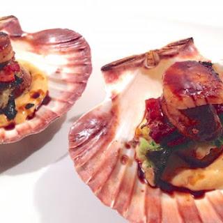 Seared and Stuffed Sea Scallops with Sriracha-Orange Coulis Hoisin Glaze.
