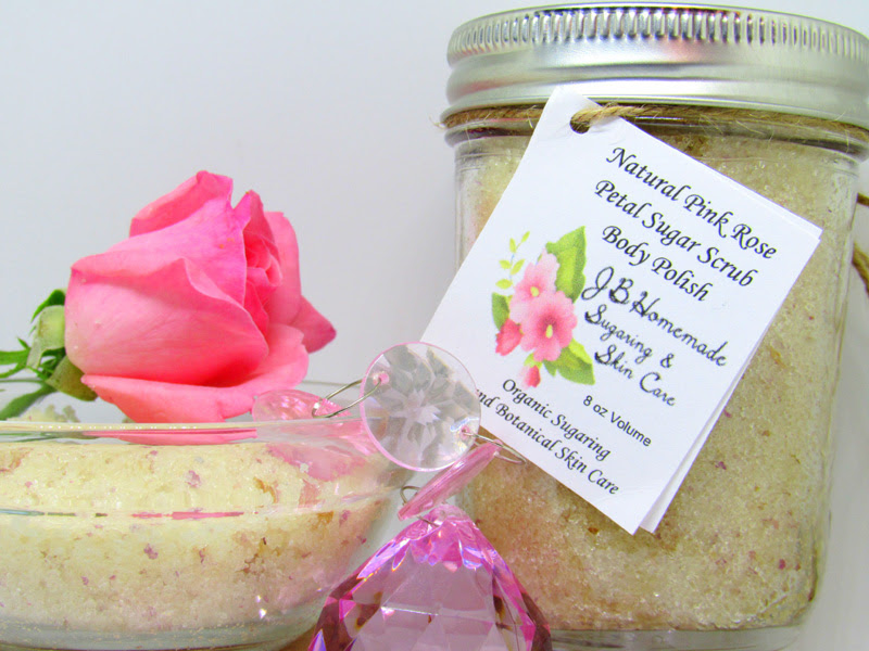 Natural Pink Rose Petal Sugar Scrub Body Polish - 8 Oz