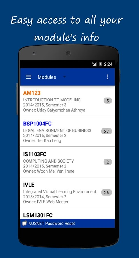 NUS IVLE- screenshot