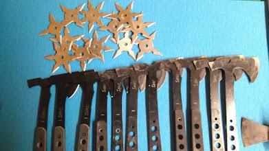 Photo: Throwing stars, metal tomahawks