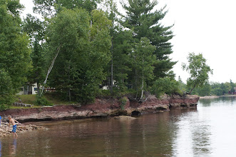 Photo: The sandstone shoreline at Brian's cabin (actually their neighbor's).