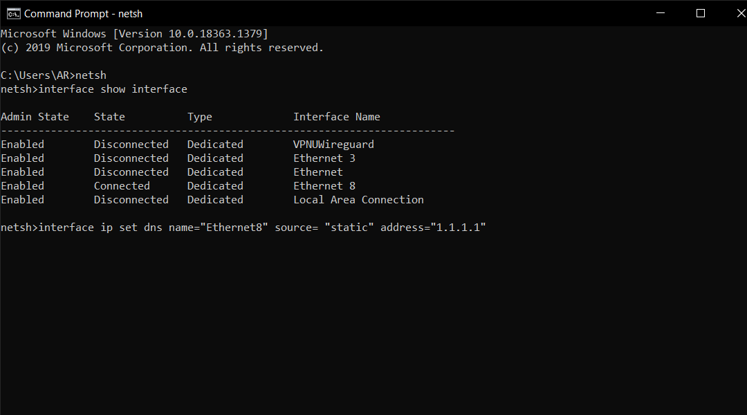Command to Change DNS Settings