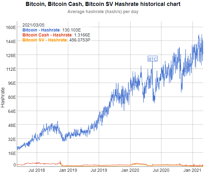 BTC BCH BSV Hash Rate