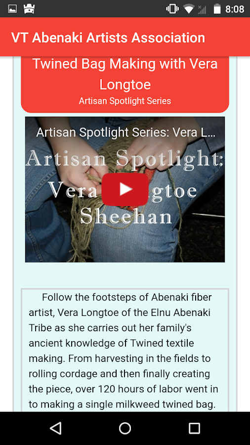 Vermont Abenaki Artists Association- screenshot