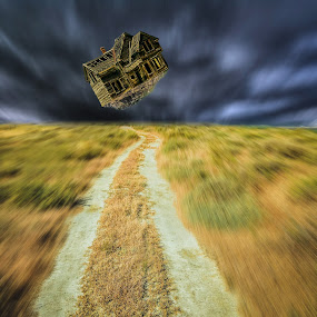 Flying farm by Marianna Sklia - Digital Art Places ( fantasy, flying, dreamscape, fine art, farmland,  )