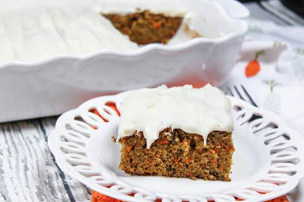 A Slice Of Bette's Best Carrot Cake On A Plate.