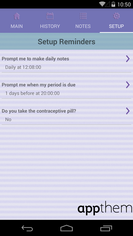 Period Tracker- screenshot