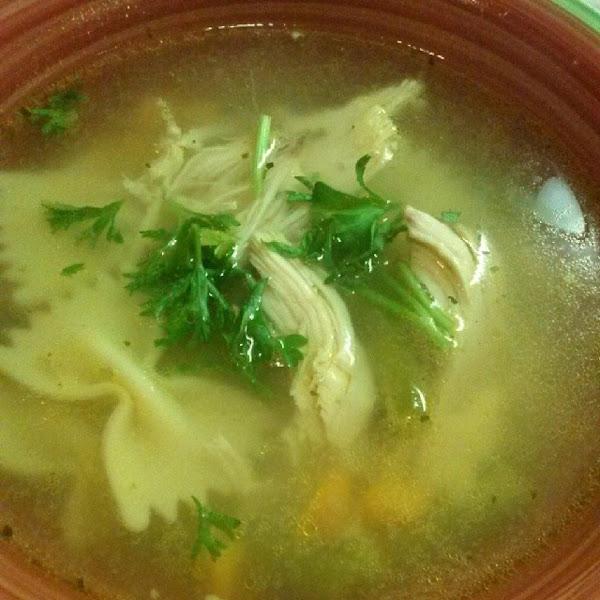 Chicken,veggies & Bowtie Soup Recipe