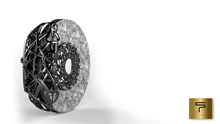 The alien-like 'anadiaplasi' 3D-printed brake calipers earmarked for Chaos. Picture: SUPPLIED