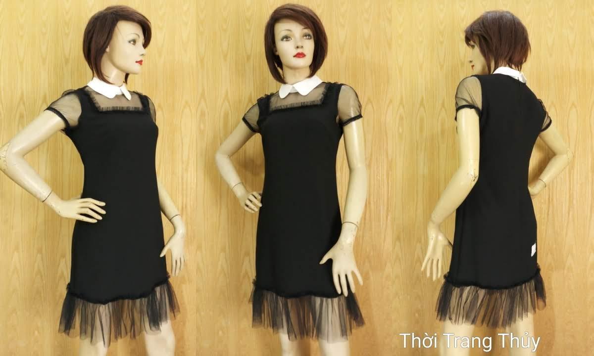 Váy suông cổ cánh sen phối ren màu đen V681 thời trang thủy