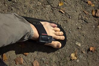 Photo: My swollen toe - stubbed it running in my five-fingers