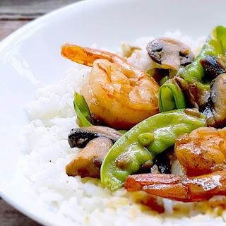 Shrimp, Snow Peas & Mushrooms over Jasmine Rice.