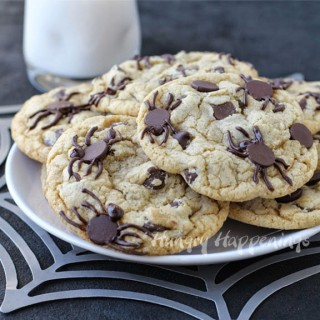 Spider Infested Chocolate Chip Cookies - Creepy Halloween Dessert