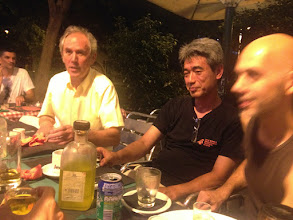 Photo: After a day's hard work!  At our local Italian restaurant.