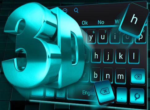 3D Black Blue Keyboard Theme 10001001 screenshots 1