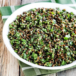 Lebanese Lentil Salad with Garlic, Cumin, Mint, and Parsley.