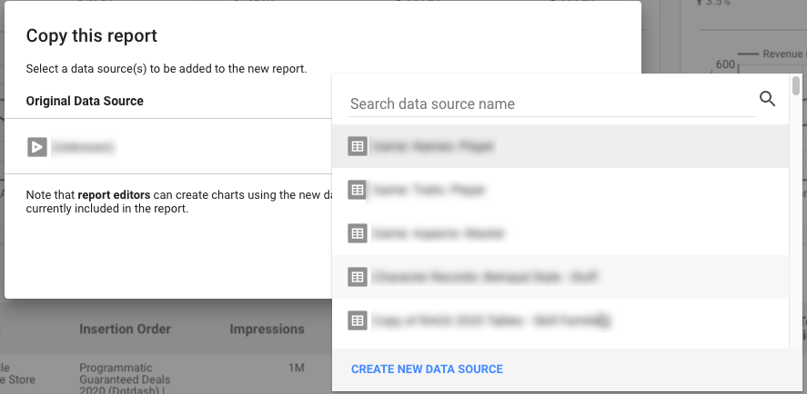 Adding a data source to a copied report.