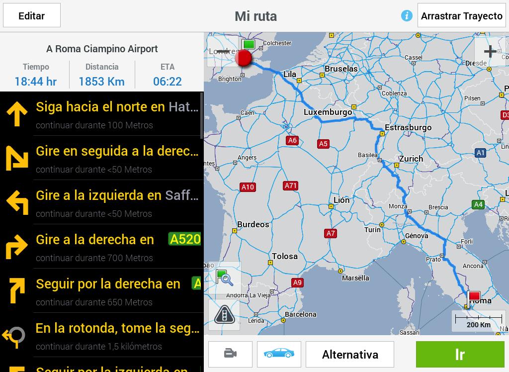 CoPilot Premium Europa GPS App: captura de pantalla