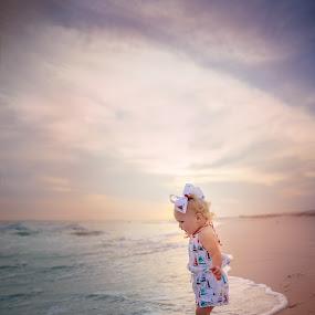 beach babe by Beth Ann - Babies & Children Child Portraits ( ocean, beach, sunset, baby, girl,  )